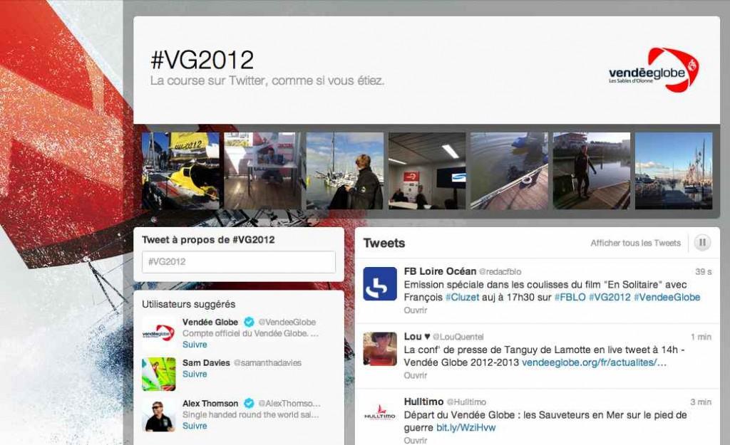 Page dédiée au Vendée Globe 2012-2013 sur Twitter