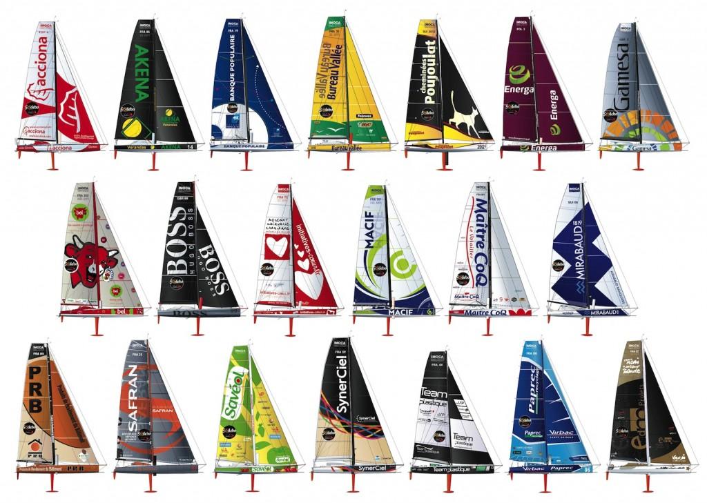 Les 20 bateaux au départ du Vendée-Globe 2012-2013
