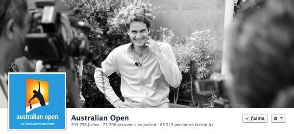 Roger Federer, tête d'affiche de la page Facebook de l'Open d'Australie