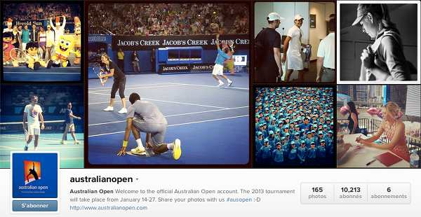 Compte Instagram - Australian Open