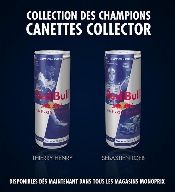 Red Bull : canettes collector avec la collection des champions