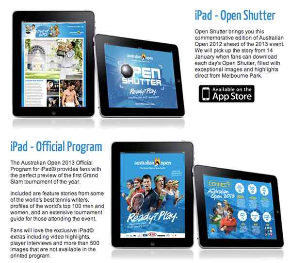Application iPad - Australian Open