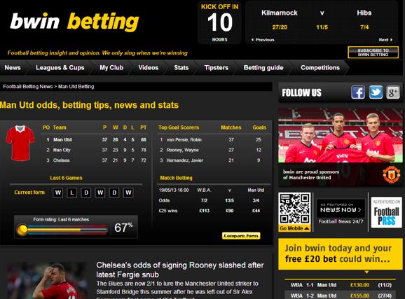 Site Bwin créé autour de l'univers de Manchester United