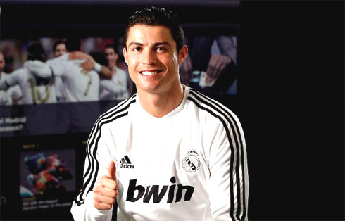 Cristiano Ronaldo, joueur du Real Madrid sponsorisé par Bwin