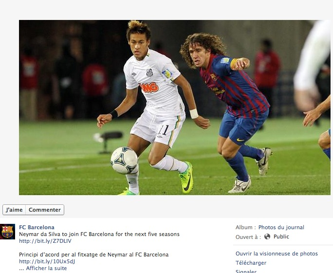 Publication du FC Barcelone sur sa page Facebook pour annoncer le transfert de Neymar