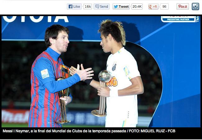 Le FC Barcelone annonce le transfert de Neymar sur son site internet