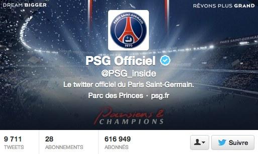 Compte Twitter du PSG en mai 2013
