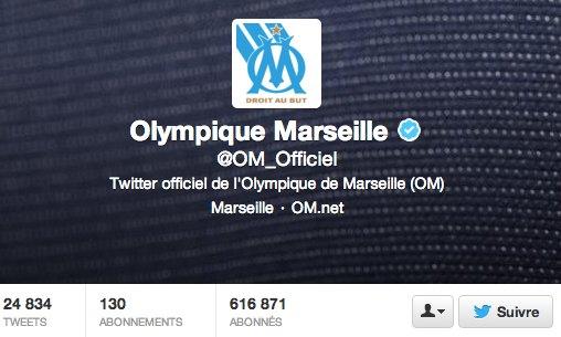 Compte Twitter de l'Olympique de Marseille en mai 2013