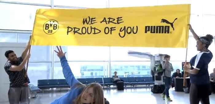 Puma organise un flashmob dans un aéroport et remercie le Borussia