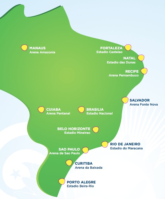 Carte des stades brésiliens qui accueilleront la Coupe du Monde 2014