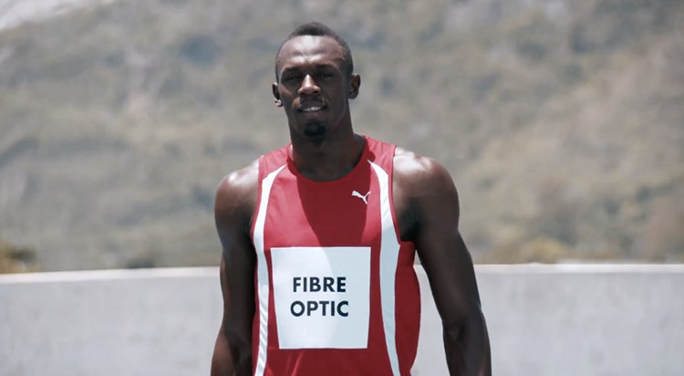 Usain Bolt est la fibre optique pour Virgin Media