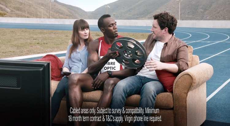 Usain Bolt, l'homme le plus rapide d'internet pour Virgin Media