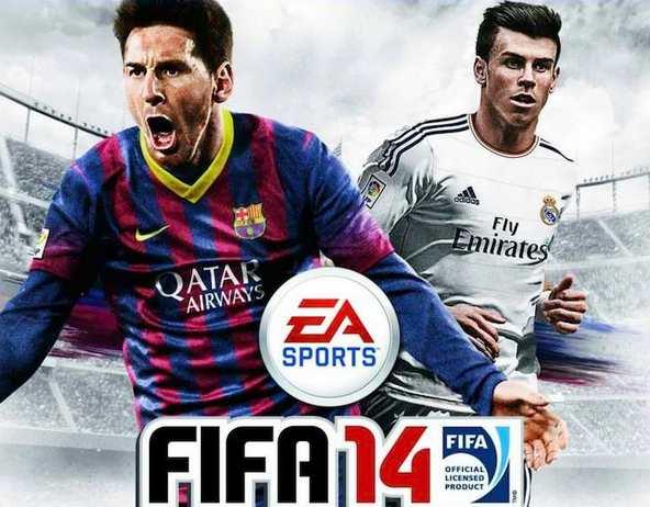 Lionel Messi et Gareth Bale sur la jaquette anglaise de Fifa 14