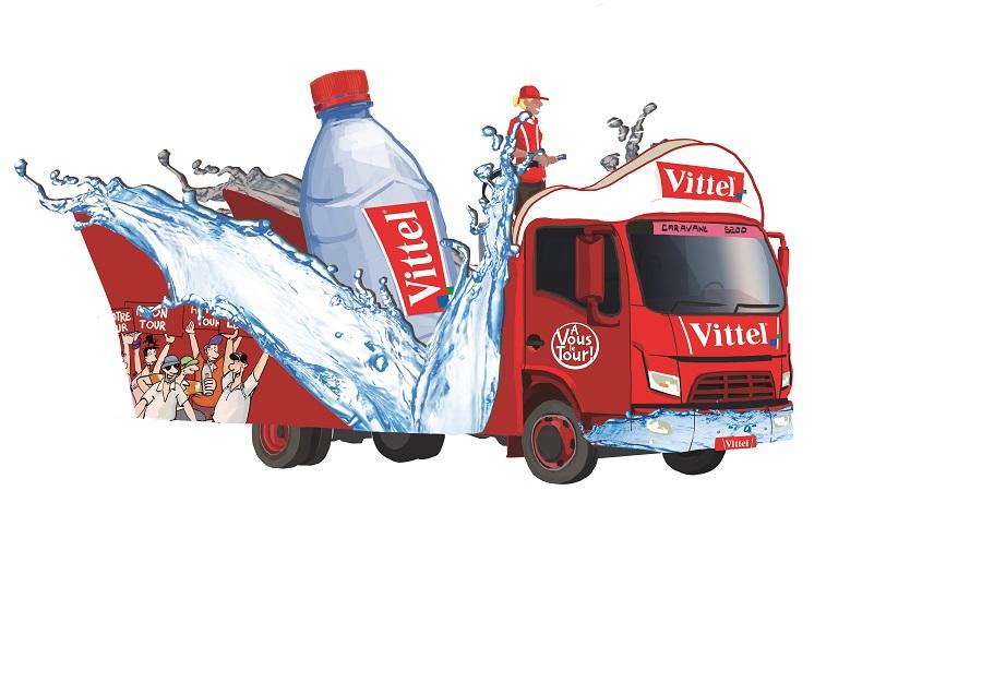 Caravane Vittel sur le Tour de France: camion arroseur