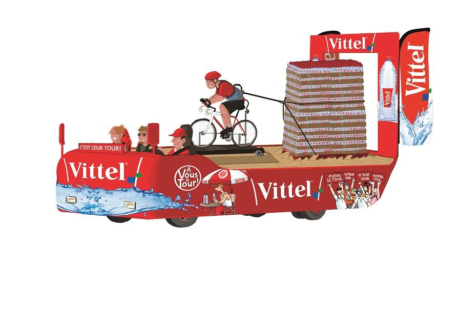 Caravane Vittel sur le Tour de France: première char animé