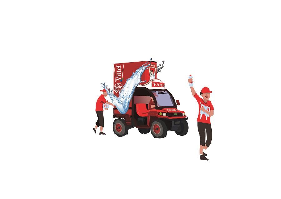Caravane Vittel sur le Tour de France: gator distributeur