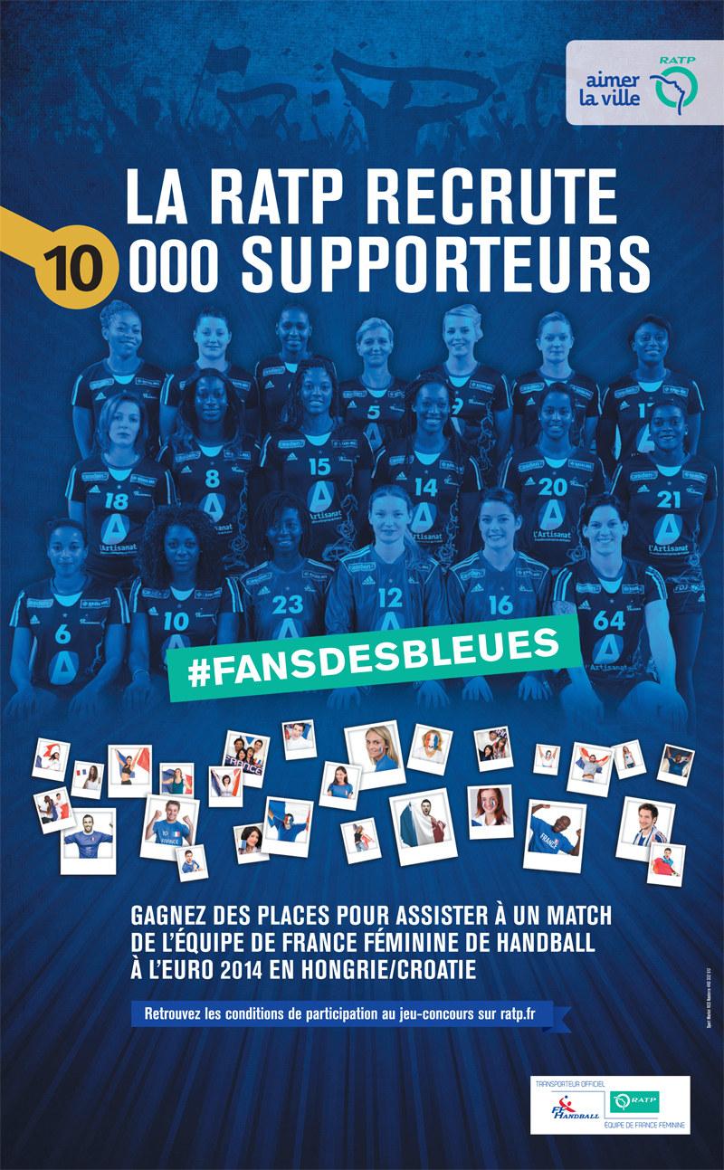 """Affiche officielle de l'opération """"Fans des Bleues"""" lancée par l'Equipe de France et la RATP"""