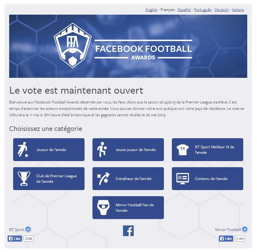 Voilà à quoi ressemble l'interface des Facebook Football Awards