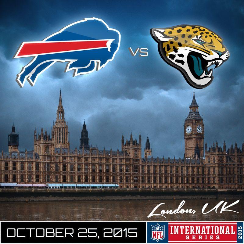 Une publicité pour le match diffusé en live-streaming entre les Buffalo Bills et et les Jacksonville Jaguars