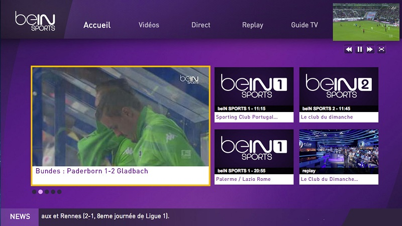 L'interface de beIN Sports Connect