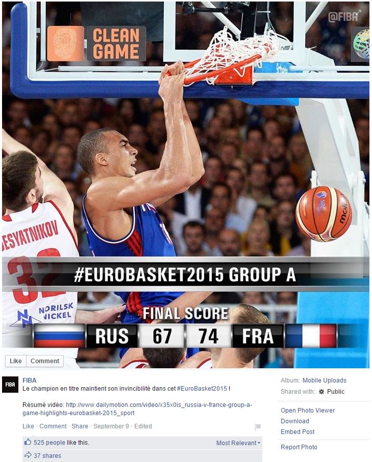Photo de la FIBA sur sa page Facebook avec Rudy Gobert