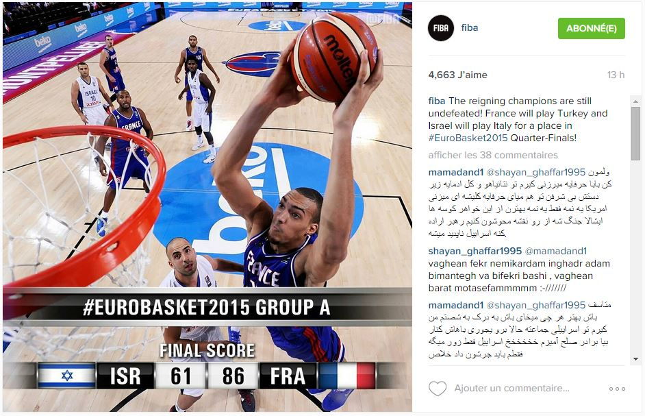 Publication de la FIBA sur son compte Instagram avec Rudy Gobert