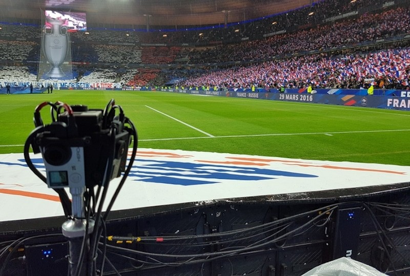 match football sport filmé à 360 degrés