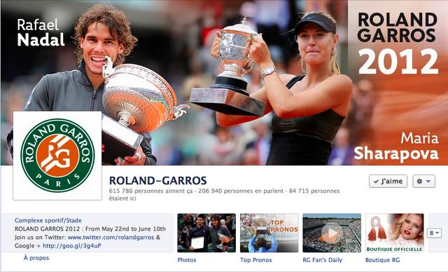 Page Facebook de Roland-Garros - Nadal et Sharapova