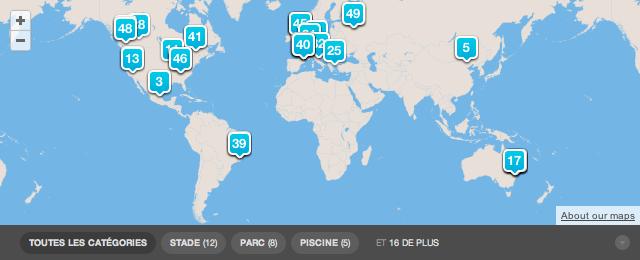 Les 49 emplacements de Foursquare pour les Jeux Olympiques