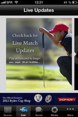Live Updates sur l'application de la Ryder Cup 2012