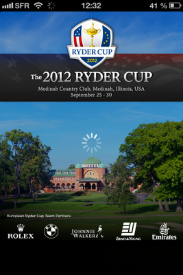Accueil application mobile Ryder Cup 2012