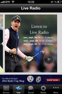 Live Radio sur l'application de la Ryder Cup 2012