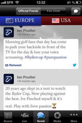 L'onglet Social dans l'application de la Ryder Cup 2012